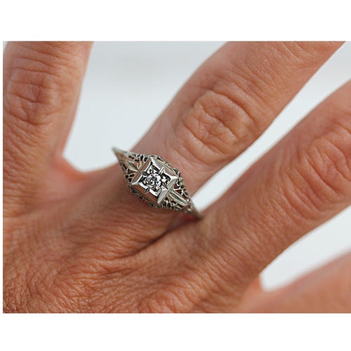 Diamond Engagement Ring with Open Work Side Gallery
