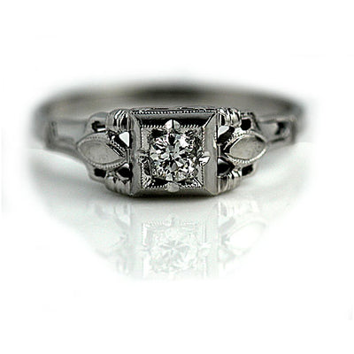 Art Deco Diamond Engagement Ring with Navette Engravings