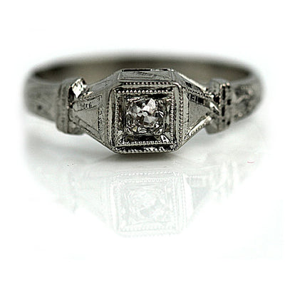 Delicate Diamond Engagement Ring with Milgrain Engravings