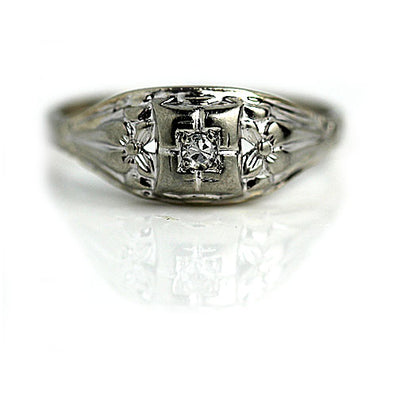 Vintage Floral Solitaire Diamond Engagement Ring
