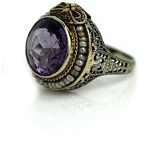 Art Deco Amethyst 5.00 Carat Engagement Ring