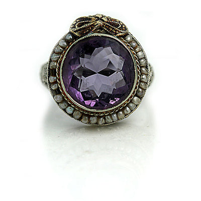 Vintage Bezel Set Amethyst & Pearl Halo Ring - Vintage Diamond Ring