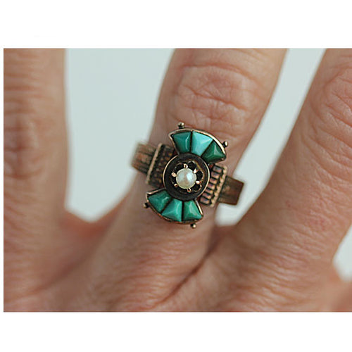 Turquoise & Pearl Engagement Ring