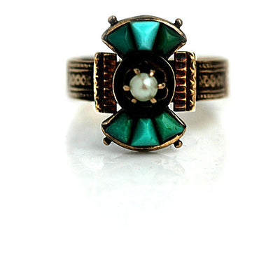 Turquoise & Pearl Engagement Ring with Engraved Band - Vintage Diamond Ring