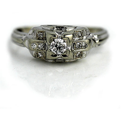Old European Cut Diamond Engagement Ring with Side Diamonds
