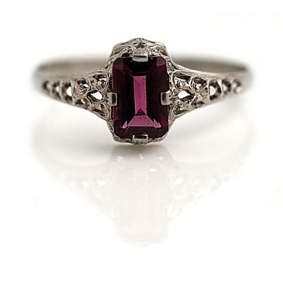Antique Rectangular Cut Garnet Engagement Ring