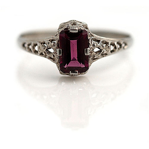 Rectangular Garnet Engagement Ring