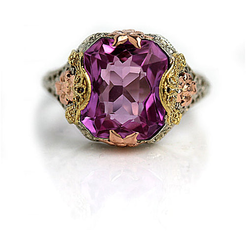 Vintage Pink Gemstone Tri Color Gold Cocktail Ring