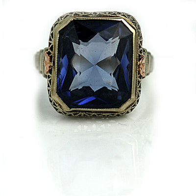 Vintage Synthetic Blue Gemstone Cocktail Ring - Vintage Diamond Ring