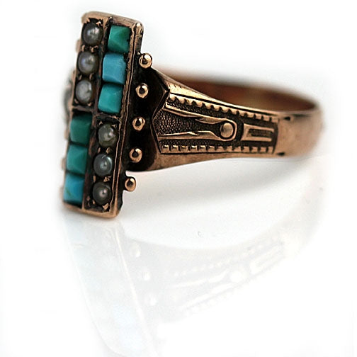 Turquoise & Pearl Engraved Engagement Ring