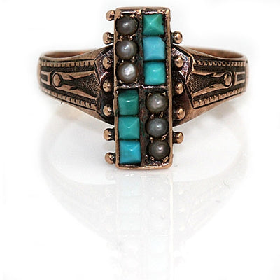Antique Turquoise & Pearl Engagement Ring - Vintage Diamond Ring