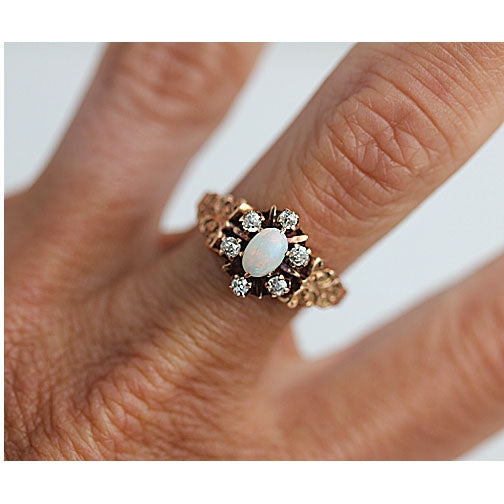 Victorian Opal and MIne Cut Diamond Ring