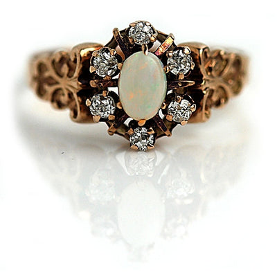 Victorian Opal and MIne Cut Diamond Ring - Vintage Diamond Ring