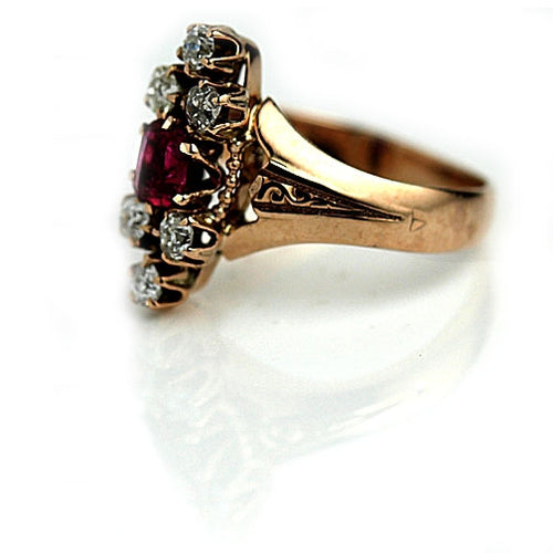 Vertical Ruby & Diamond Engagement Ring