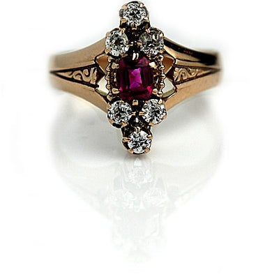 Victorian Ruby & Diamond Engagement Ring - Vintage Diamond Ring