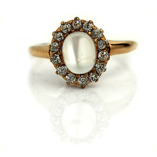 Moonstone & Diamond Halo Engagement Ring