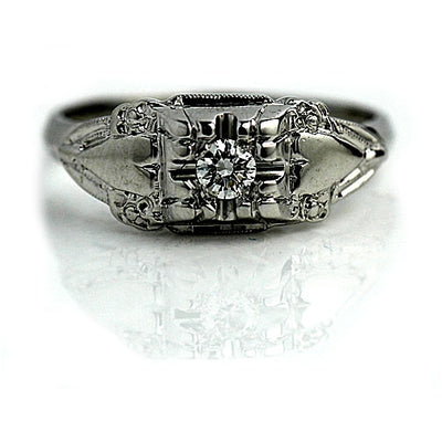 Vintage Diamond Engagement Ring with Heart Motif