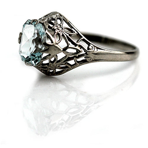 Art Deco 1.50 Carat Art Deco Aquamarine Ring
