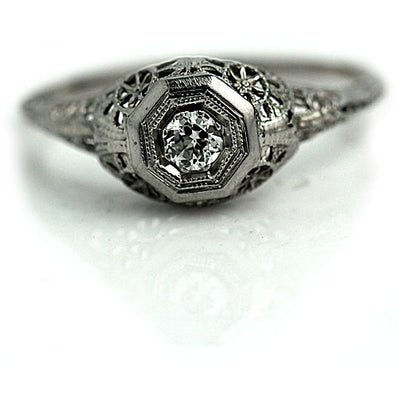 White Gold Diamond Filigree Engagement Ring
