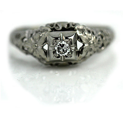 Solitaire Engagement Ring with Floral Engravings