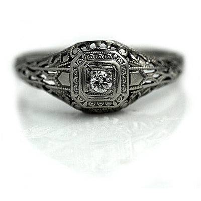 Rare Art Deco Engagement Ring with Filigree Engravings