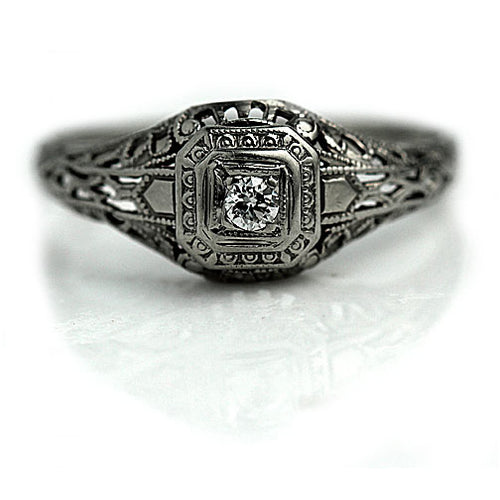 Octagon Art Deco Engagement Ring