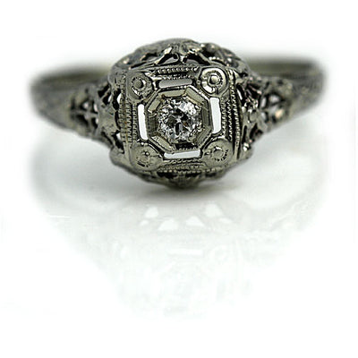 Antique Open Faced Engagement Ring with Side Engravings
