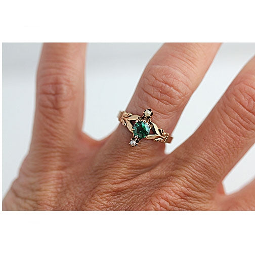 Victorian Emerald Ring in 14 Kt Rose Gold Circa Late 1800's