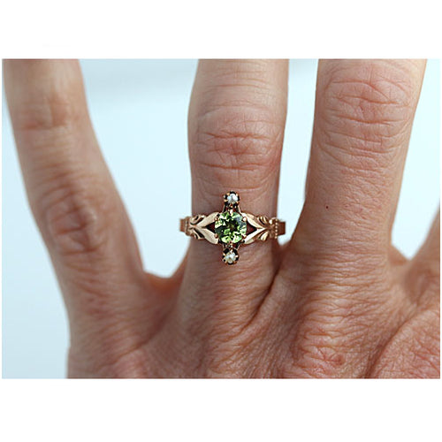 Victorian Peridot Pearl Rose Gold Engagement Ring