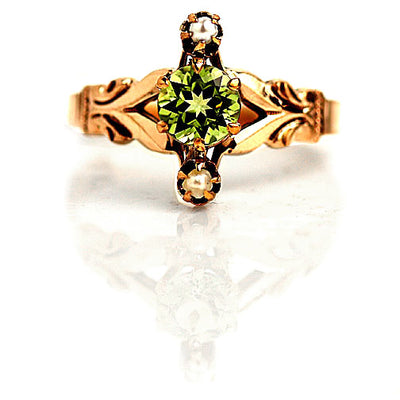Peridot & Pearl Engagement Ring
