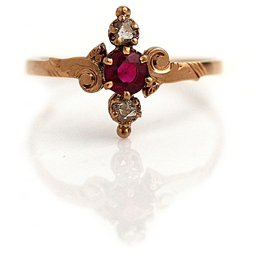 Victorian Ruby and Diamond Engagement Ring