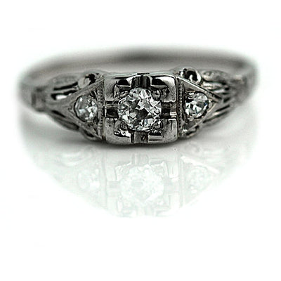 Mine Cut Diamond Engagement Ring with Side Stones
