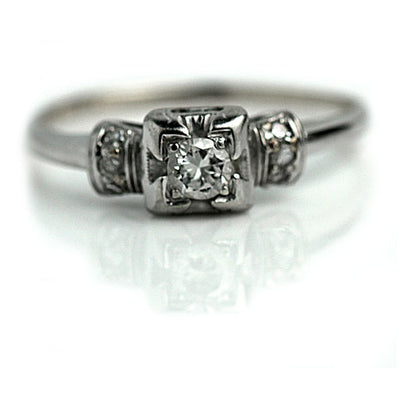 Dainty Square Diamond Engagement Ring