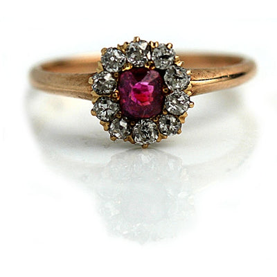 Ruby & Diamond Halo Engagement Ring - Vintage Diamond Ring