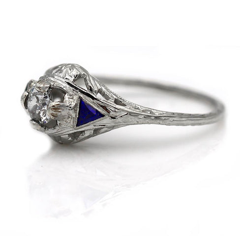Art Deco Diamond Sapphire White Gold Ring