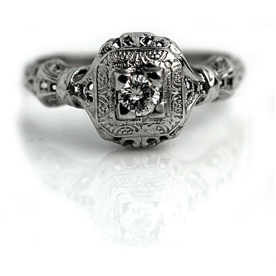 Transitional Cut Engagement Ring with Filigree Engravings