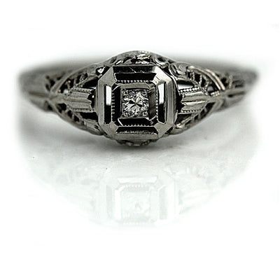 Vintage Old Mine Cut Diamond Solitaire Engagement Ring