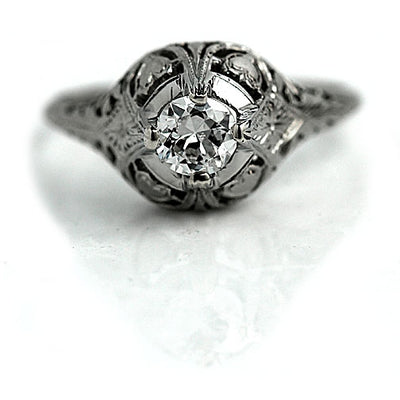 Antique Solitaire Engagement Ring with Heart Motif