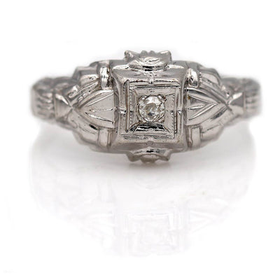 Petite Diamond Engagement Ring with Filigree Engravings
