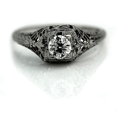 Antique Diamond Engagement Ring with Filigree Engravings