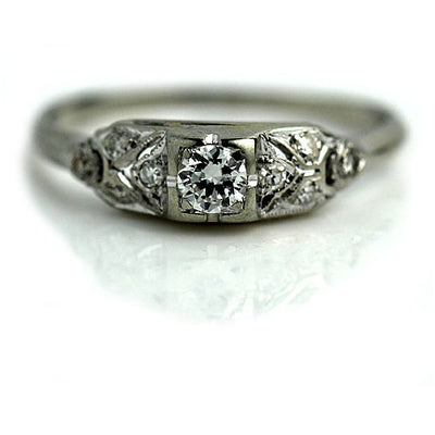 Low Profile Vintage Diamond Engagement Ring