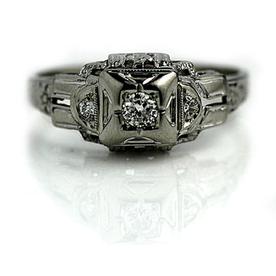 Unique Diamond Engagement Ring with Side Diamonds