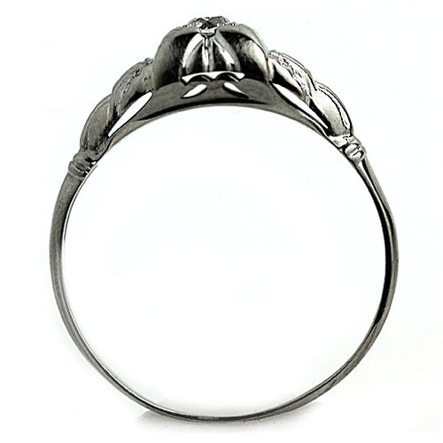 Unique Engagement Ring with Engraved Geometric Band