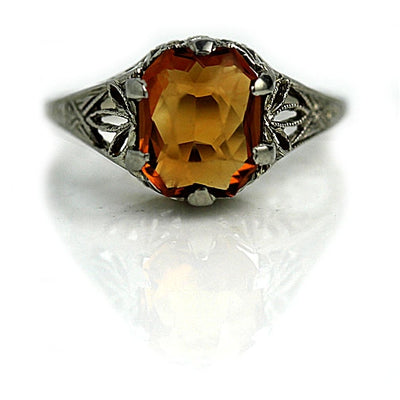 Art Deco Square Cut Citrine Engagement Ring - Vintage Diamond Ring