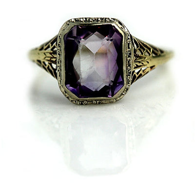 Unique Vintage Amethyst Engagement Ring - Vintage Diamond Ring