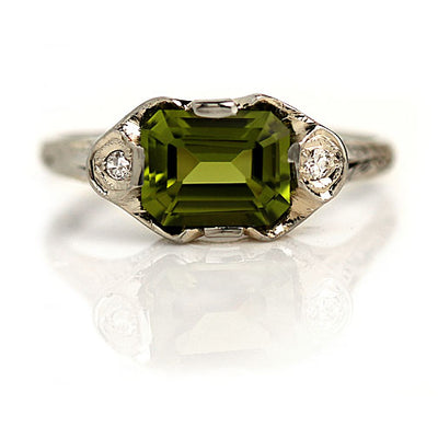 2.50 ct East West Peridot & Diamond Engagement Ring - Vintage Diamond Ring