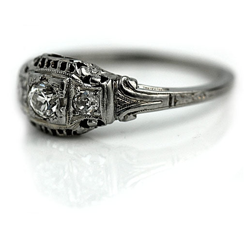 Belais Diamond Engagement Ring with Floral Engravings