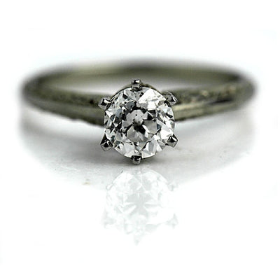 Antique Engraved Thin Band Solitaire Engagement Ring