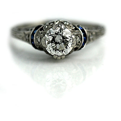 Magnificent Art Deco Diamond & Sapphire Engagement Ring - Vintage Diamond Ring