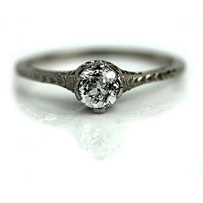 Thin Filigree Band Mine Cut Diamond Engagement Ring
